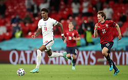 England's Marcus Rashford (left) and Czech Republic's Alex Kral in action during the UEFA Euro 2020 Group D match at Wembley Stadium, London. Picture date: Tuesday June 22, 2021.