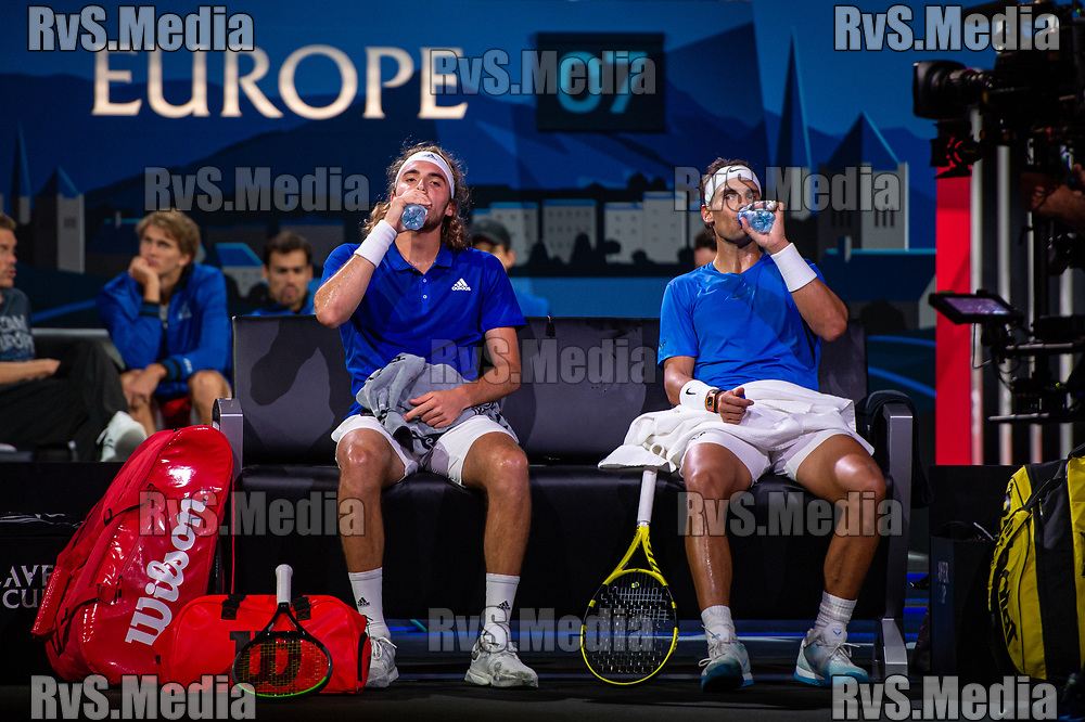 GENEVA, SWITZERLAND - SEPTEMBER 21: Stefanos Tsitsipas of Team Europe and Rafael Nadal of Team Europe  take a breather and some water during Day 2 of the Laver Cup 2019 at Palexpo on September 21, 2019 in Geneva, Switzerland. The Laver Cup will see six players from the rest of the World competing against their counterparts from Europe. Team World is captained by John McEnroe and Team Europe is captained by Bjorn Borg. The tournament runs from September 20-22. (Photo by Monika Majer/RvS.Media)