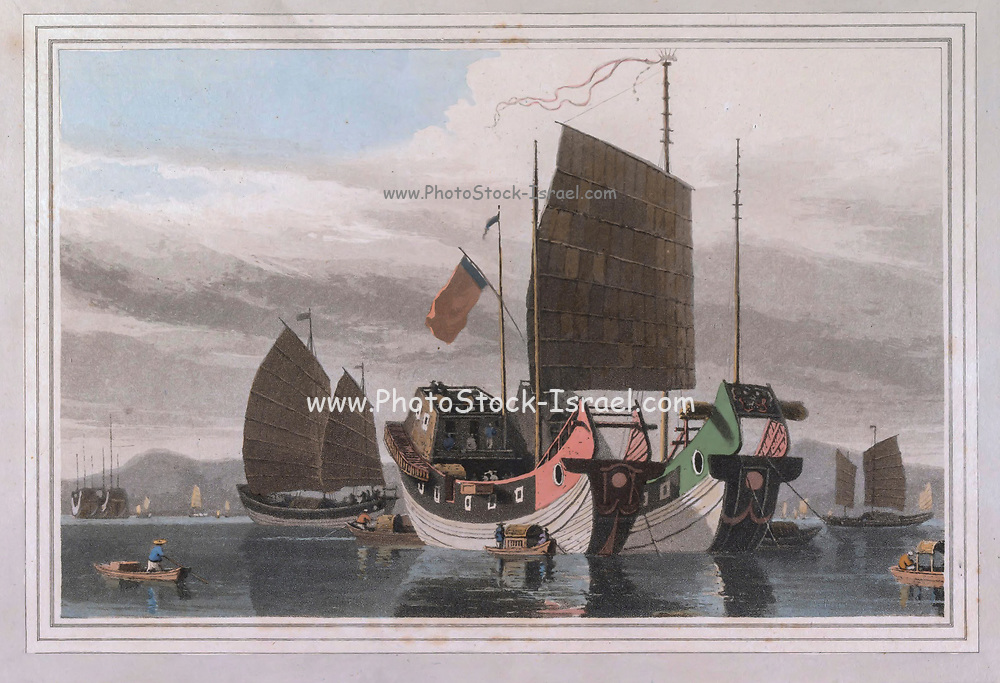 Chinese Junks. THE two foremost vessels lying at anchor are junks of four or five hundred tons burthen. The deformity of their structure on a near view, excites sensations of terror in the beholder.<br /> The bow, or foreport, instead of being rounded after the European custom, is flat and square ; a circular eye is painted on<br /> it, to intimate the necessity of vigilance and caution to the helmsman. stern of them is a small trading vessel under sail. In the distance are other junks, those leviathans of the Chinese seas, whose perilous course cannot be contemplated by an European without emotions of pity and regret. colour print from the book ' A Picturesque Voyage to India by Way of China  ' by Thomas Daniell, R.A. and William Daniell, A.R.A. London : Printed for Longman, Hurst, Rees, and Orme, and William Daniell by Thomas Davison, 1810. The Daniells' original watercolors for the scenes depicted herein are now at the Yale Center for British Art, Department of Rare Books and Manuscripts,