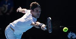 MELBOURNE, Jan. 22, 2018  Roger Federer of Switzerland returns a shot during the men's singles fourth round match against Marton Fucsovics of Hungary at Australian Open 2018 in Melbourne, Australia, Jan. 22, 2018. Roger Federer won 3-0. (Credit Image: © Zhu Hongye/Xinhua via ZUMA Wire)