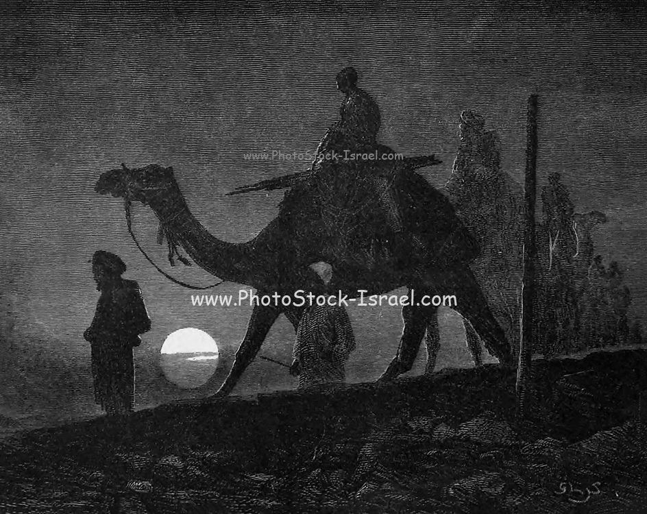 Camel Caravan at Night wood engraving From the book 'Picturesque Palestine, Sinai and Egypt : social life in Egypt; a description of the country and its people' with illustrations on Steel and Wood by Wilson, Charles William, Sir, 1836-1905; Lane-Poole, Stanley, 1854-1931. Published by J.S. Virtue in London in 1884