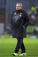 Hull City Manager Steve Bruce makes his way off the pitch after the final whistle. Skybet football league Championship match, Burnley v Hull city at Turf Moor in Burnley ,Lancs on Saturday 6th February 2016.<br /> pic by Chris Stading, Andrew Orchard sports photography.