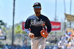 June 10, 2018 - Los Angeles, CA, U.S. - LOS ANGELES, CA - JUNE 10: Atlanta Braves second baseman Ozzie Albies (1) looks on during a MLB game between the Atlanta Braves and the Los Angeles Dodgers on June 10, 2018 at Dodger Stadium in Los Angeles, CA. (Photo by Brian Rothmuller/Icon Sportswire) (Credit Image: © Brian Rothmuller/Icon SMI via ZUMA Press)