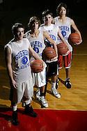 Goshen basketball captains A.J. Zecchini, John Xanthis, John Melville and Edward Robinson pose for a photograph before practice in Goshen on Dec 4, 2006.
