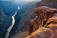 Steep rugged cliffs above the Colorado River at sunset, Toroweap, Grand Canyon National Park, Arizona