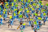 Carnaval parade of Paraiso do Tuiuti samba school in the Sambadrome, Rio de Janeiro, Brazil.