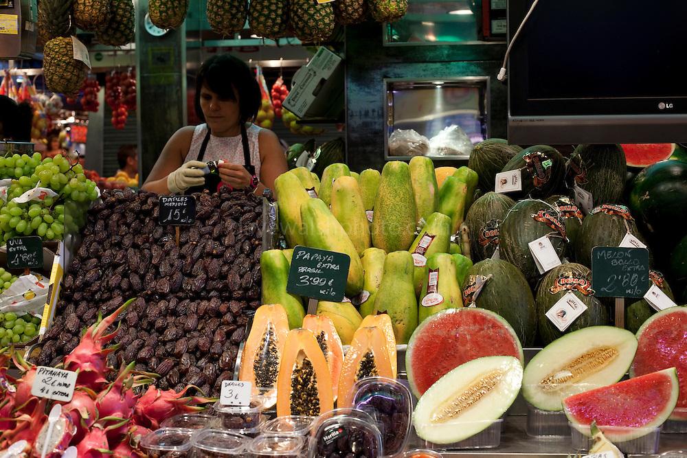 Fruit stall at the La Boqueria Market, Barcelona