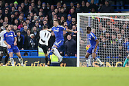 Kevin Mirallas of Everton volleys  to score his sides 2nd goal to make it 0-2. Barclays Premier league match, Chelsea v Everton at Stamford Bridge in London on Saturday 16th January 2016.<br /> pic by John Patrick Fletcher, Andrew Orchard sports photography.