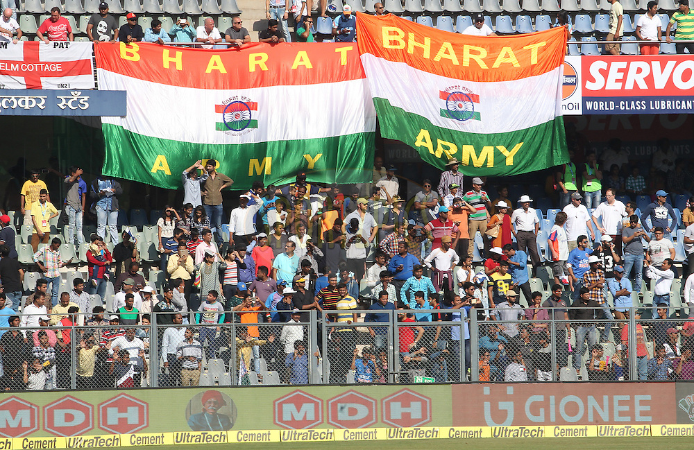 Fans show their support for their country during day 5 of the fourth test match between India and England held at the Wankhede Stadium, Mumbai on the 12th December 2016.<br /> <br /> Photo by: Ron Gaunt/ BCCI/ SPORTZPICS