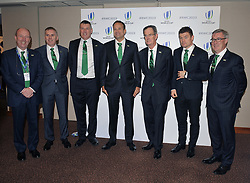 Members of IrelandÕs delegation team from left to right, Shane Ross, David Sterling, Phillip Browne, Taoiseach, Leo Varadkar, Dick Spring, Brian OÕDriscoll, and Kieran McLoughlin, during the 2023 Rugby World Cup host candidates presentations at the Royal Garden Hotel in London, where they are bidding to host the event against France and South Africa.