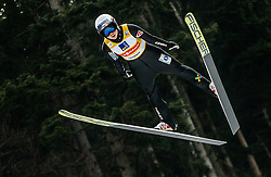Maren Lundby of Norway soaring through the air during Trial Round at Day 1 of World Cup Ski Jumping Ladies Ljubno 2019, on February 8, 2019 in Ljubno ob Savinji, Slovenia. Photo by Matic Ritonja / Sportida