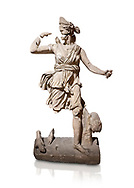 Roman statue of Hunting Artemis .Marble. Perge. 2nd century AD. Inv no .Antalya Archaeology Museum; Turkey. Against a white background. .<br /> <br /> If you prefer to buy from our ALAMY STOCK LIBRARY page at https://www.alamy.com/portfolio/paul-williams-funkystock/greco-roman-sculptures.html . Type -    Antalya     - into LOWER SEARCH WITHIN GALLERY box - Refine search by adding a subject, place, background colour, museum etc.<br /> <br /> Visit our ROMAN WORLD PHOTO COLLECTIONS for more photos to download or buy as wall art prints https://funkystock.photoshelter.com/gallery-collection/The-Romans-Art-Artefacts-Antiquities-Historic-Sites-Pictures-Images/C0000r2uLJJo9_s0