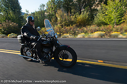 Bob Huffman riding his 1935 Harley-Davidson VJ during Stage 16 (142 miles) of the Motorcycle Cannonball Cross-Country Endurance Run, which on this day ran from Yakima to Tacoma, WA, USA. Sunday, September 21, 2014.  Photography ©2014 Michael Lichter.