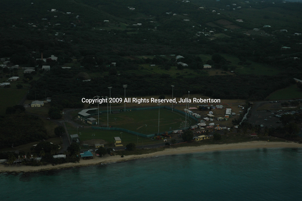 Aerial view of St. Croix, US Vrgin Islands coastline looking out towards Buck Island