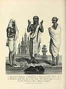 Three Brahmin sects before a temple (Brahmana (center), Vishnu Sect (right) and Siva Sect (left)) Copperplate engraving From the Encyclopaedia Londinensis or, Universal dictionary of arts, sciences, and literature; Volume X;  Edited by Wilkes, John. Published in London in 1811