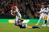 LA Rams Defensive back Taylor Rapp (24) tackles Cincinnati Bengals Tyler Eifert (85) during the International Series match between Los Angeles Rams and Cincinnati Bengals at Wembley Stadium, London, England on 27 October 2019.