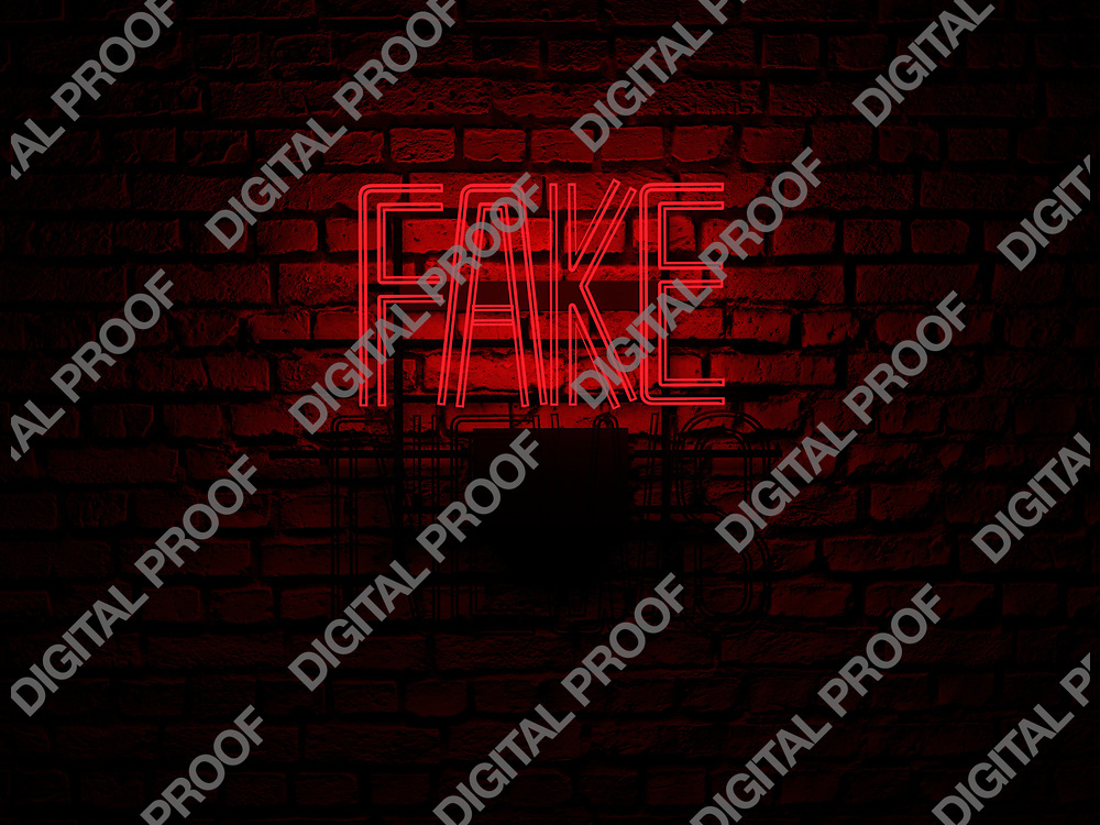 Fake News Neon Sign red color fake on news off over a red brick wall at dark - Illustration Computer Rendered - Illustration
