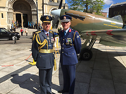 (left to right) Air Chief Marshal Sir Stephen Hiller, left, and Irish Air Corps Brigadier General Sean Clancy pictured ahead of an event marking the RAF's centenary at St Anne's Cathedral in Belfast.