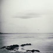Long exposure of the mediterran sea near Capdepera, Mallorca - textured photograph