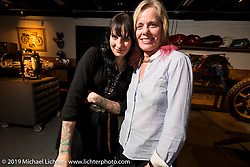 Corinna Mantlo  (Co-Founder of the Motorcycle Film Festival in Brooklyn) and Susan McLaughlin at the pre-party for the Handbuilt Motorcycle Show at Revival Cycles. Austin, TX. April 9, 2015.  Photography ©2015 Michael Lichter.