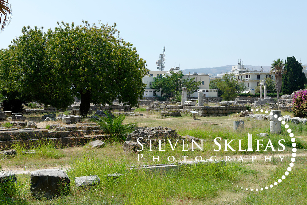 Kos Town. View of the Sanctuary of Aphrodite ruins dating from the 2nd century BC in the eastern Archeological zone. Kos is part of the Dodecanese island group and birthplace of the ancient physician and father of medicine, Hippocrates.