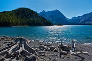 Mount McHarg (L) and Mt. Worthington (C) at Upper Kananaskis Lake<br />Kananaskis Coutnry<br />Alberta<br />Canada