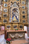 Ornate Mexican folk Baroque altar with the Virgin of Sorrows at the Sanctuary of Atotonilco an important Catholic shrine in Atotonilco, Mexico. The church is known as the Sistine Chapel of Mexico.