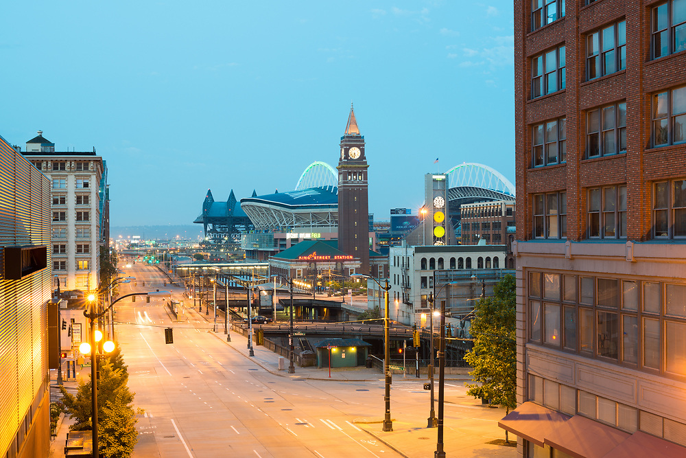 Seattle, Washington State, United States - July 09, 2012: Pioneer Square district and Centurylink Field stadium.