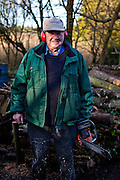 My dad, Jim Walsh, cutting timber, Ballydicken, Christmas 2012