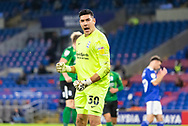 PENALTY SAVE Birmingham City's Goalkeeper Neil Etheridge (30) saves a penalty during the EFL Sky Bet Championship match between Cardiff City and Birmingham City at the Cardiff City Stadium, Cardiff, Wales on 16 December 2020.