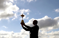 European Ryder Cup captain Thomas Bjorn with the Ryder Cup Trophy during photo-call at Le Golf National, Saint-Quentin-en-Yvelines, Paris. PRESS ASSOCIATION Photo. Picture date: Monday October 1, 2018. See PA story GOLF Ryder. Photo credit should read: David Davies/PA Wire. RESTRICTIONS: Use subject to restrictions. Written editorial use only. No commercial use.