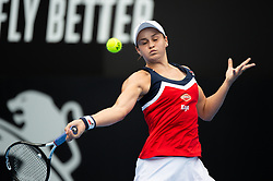 January 11, 2019 - Sydney, NSW, U.S. - SYDNEY, AUSTRALIA - JANUARY 11: Ashleigh Barty (AUS) hits a forehand in her game against Kiki Bertens (NED) at The Sydney International Tennis on January 11, 2018, at Sydney Olympic Park Tennis Centre in Homebush, Australia. (Photo by Speed Media/Icon Sportswire) (Credit Image: © Steven Markham/Icon SMI via ZUMA Press)