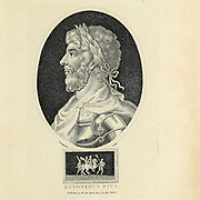 Portrait of the Roman Emperor Antoninus Pius (Titus Aelius Hadrianus Antoninus Augustus Pius; 19 September 86 – 7 March 161) was Roman emperor from 138 to 161. He was one of the Five Good Emperors in the Nerva–Antonine dynasty.  Copperplate engraving From the Encyclopaedia Londinensis or, Universal dictionary of arts, sciences, and literature; Volume I;  Edited by Wilkes, John. Published in London in 1810