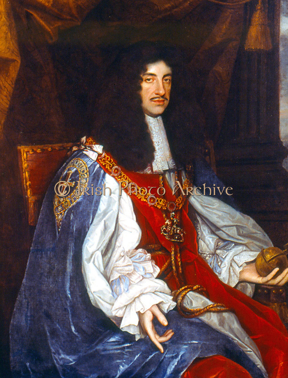 Charles II (1630-1688) King of Britain and Ireland 1660-1688. Portrait from the studio of Michael Wright c1660 at the time of the Restoration of the Monarchy.