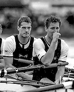 Peter Spurrier Sports Photo<br /> email pictures@rowingpics.com<br /> 44 (0) 7973 819 551<br /> Boat Race 2001<br /> <br /> Oxford president, Dan Snow, and his 6 man, Benjamin Burch after losing the 147th Boat race, fight back the emotions, as the reality of the loss sinks in. [Mandatory Credit; Peter SPURRIER/Intersport Images]<br /> <br /> 20010324 University Boat Race, Putney to Mortlake, London, Great Britain.