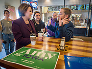08 NOVEMBER 2019 - DES MOINES, IOWA: US Senator AMY KLOBUCHAR (D-MN), left, speaks to Iowans during a campaign event in Ankeny, a suburb of Des Moines. Sen. Klobuchar is campaigning to be the Democratic nominee for the US Presidency. Iowa holds the first selection event of the Presidential election cycle. The Iowa caucuses are Feb. 3, 2020.         PHOTO BY JACK KURTZ