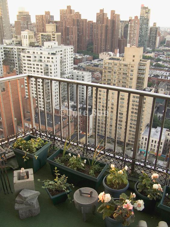 New York City residential balcony with flower garden