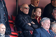 Richard Murray, the Charlton Athletic Chairman looks on from the stands. Skybet football league championship match, Charlton Athletic v Brighton & Hove Albion at The Valley  in London on Saturday 23rd April 2016.<br /> pic by John Patrick Fletcher, Andrew Orchard sports photography.