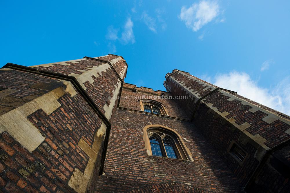 Turreted brick building in Old Court, Queens College, Cambridge University, England.