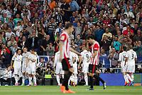 Marcelo, Cristiano Ronaldo, James, Benzema of Real Madrid and Laporte of Athletic de Bilbao during La Liga match between Real Madrid and Athletic de Bilbao at Santiago Bernabeu stadium in Madrid, Spain. October 05, 2014. (ALTERPHOTOS/Caro Marin)