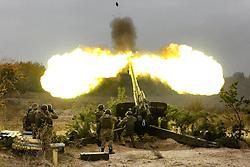 October 21, 2016 - Divychky, Ukraine - Ukrainian servicemen fire a 2A65 Msta-B howitzer during military exercises near the village of Divychky in Kyiv region, Ukraine, October 21, 2016. (Credit Image: © Maxym Marusenko/NurPhoto via ZUMA Press)
