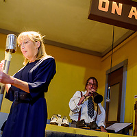 """Nancy DeBellis, right, performs sound effects for a scene with Hollie Huyette during a rehearsal for the play """"Dead Men Don't Carry Handbags"""" at Old School Gallery in El Morro Tuesday."""