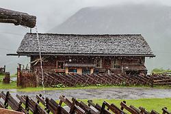 THEMENBILD - Regen rinnt aus einer Wasserrinne vor einer Almhütte. Die bewirtschaftete Alm, wo rund 800 Schafe und 55 Milchkühe im Sommer sind, besteht seit dem Jahre 1779 und wird von der Familie Aberger Dick geführt, Sie liegt unmittelbar bei den Kapruner Hochgebirgsstauseen, aufgenommen am 16. Juni 2017, Fürthermoar Alm, Kaprun, Österreich // Rain runs from a water trough in front of a hut. The Fuerthermoar Alm, where around 800 sheep and 55 dairy cows are in summer and is directly next to the Kaprun Hochgebirgsausauseen. The Mountain Hut exists since 1779 and is owned by the family Aberger Dick, taken on 2017/06/16, Kaprun, Austria. EXPA Pictures © 2017, PhotoCredit: EXPA/ JFK