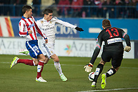 Atletico de Madrid's Jan Oblack and Lucas and Real Madrid's James Rodriguez during 2014-15 Spanish King Cup match at Vicente Calderon stadium in Madrid, Spain. January 07, 2015. (ALTERPHOTOS/Luis Fernandez)