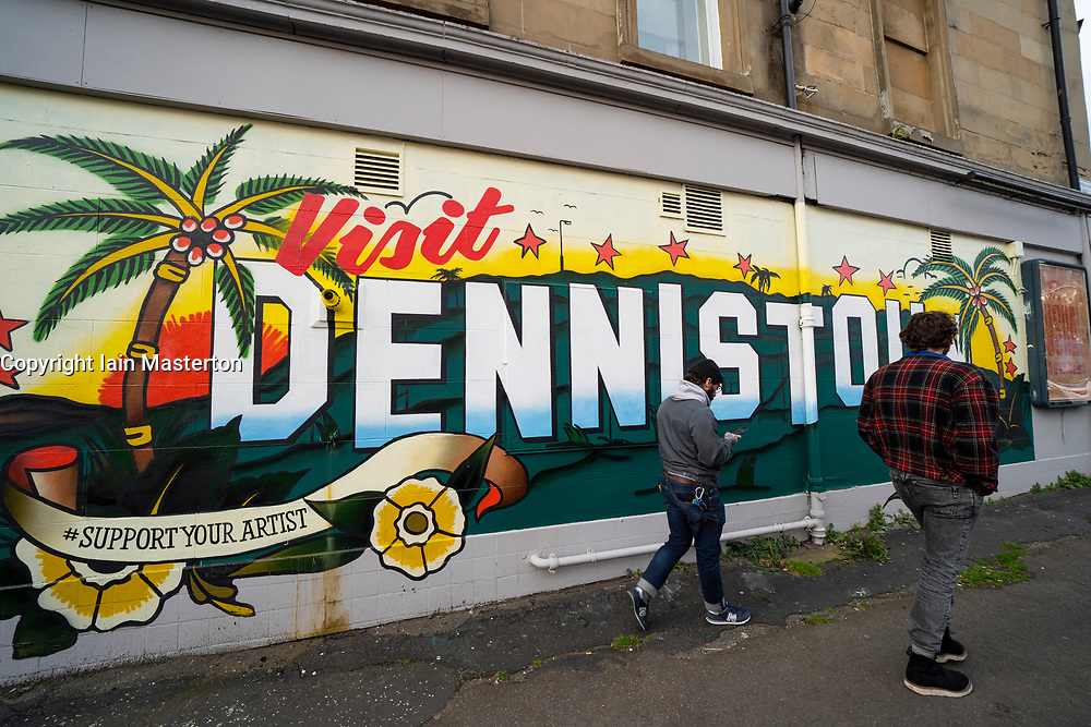 Mural on wall in Dennistoun in East End of Glasgow, Scotland, UK