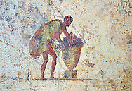 Roman fresco of a man from the The Large Columbarium in Villa Doria Panphilj, Rome. A columbarium is usually a type of tomb with walls lined by niches that hold urns containing the ashes of the dead.  Large columbaria were built in Rome between the end of the Republican Era and the Flavio Principality (second half of the first century AD).  Museo Nazionale Romano ( National Roman Museum), Rome, Italy. .<br /> <br /> If you prefer to buy from our ALAMY PHOTO LIBRARY  Collection visit : https://www.alamy.com/portfolio/paul-williams-funkystock/national-roman-museum-rome-fresco.html<br /> <br /> Visit our ROMAN ART & HISTORIC SITES PHOTO COLLECTIONS for more photos to download or buy as wall art prints https://funkystock.photoshelter.com/gallery-collection/The-Romans-Art-Artefacts-Antiquities-Historic-Sites-Pictures-Images/C0000r2uLJJo9_s0