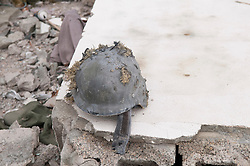 © licensed to London News Pictures. TRIPOLI, LIBYA  19/02/12. A destroyed PAGST helmet in Bab Al Azizia, Muarmar Gaddafi's former compound in Tripoli, Libya. Much of it was destroyed by NATO bombing. Please see special instructions for usage rates. Photo credit should read MICHAEL GRAAE/LNP