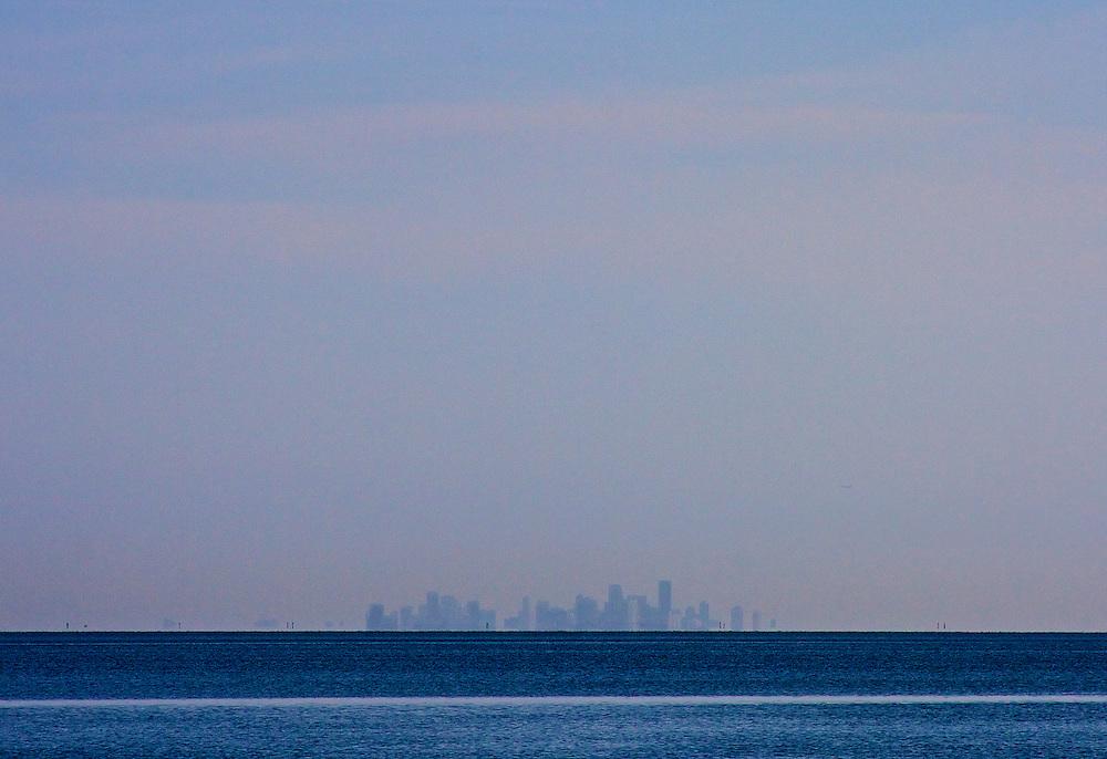 Miami Skyline From 25 Miles, Biscayne Bay