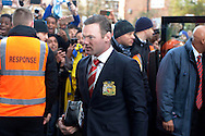 Wayne Rooney, the Manchester United captain arrives at Loftus Road Stadium from the coach before k/o. Barclays Premier league match, Queens Park Rangers v Manchester Utd at Loftus Road in London on Saturday 17th Jan 2015. pic by John Patrick Fletcher, Andrew Orchard sports photography.