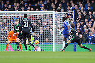 Bertrand Traore of Chelsea shoots to score his sides 1st goal to make it 1-0. Barclays Premier league match, Chelsea v Stoke city at Stamford Bridge in London on Saturday 5th March 2016.<br /> pic by John Patrick Fletcher, Andrew Orchard sports photography.
